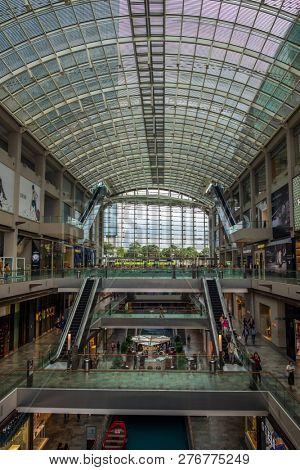 SINGAPORE CITY, SINGAPORE - APRIL 19, 2018: Inside the Marina Bay Sands shopping mall the Shoppes
