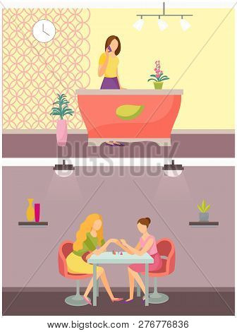 Spa salon receptionist and manicurist polishing nails on fingers. Client specialist in beauty industry, reception, and manicure procedure set vector poster