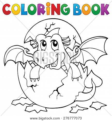 Coloring Book Dragon Hatching From Egg 3 - Eps10 Vector Picture Illustration.