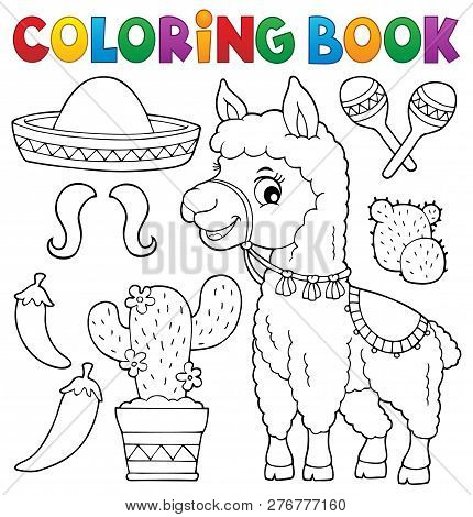 Coloring Book Llama And Objects Set 1 - Eps10 Vector Picture Illustration.