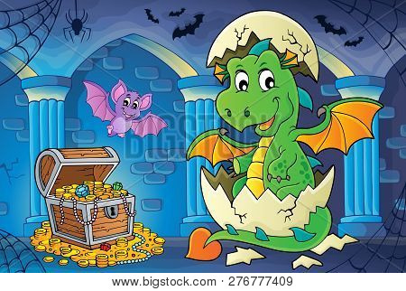 Dragon Hatching From Egg Image 2 - Eps10 Vector Picture Illustration.