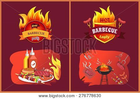 Hot Barbecue Tasty Party Set With Emblems. Sausages Hamburger On Plate, Satay And Brochettes With Ve
