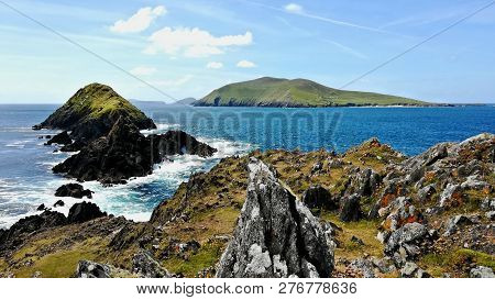 Panoramic View Of The West Coast Of Ireland. In The Foreground You Can See The Cliffs With Rocks, Bi