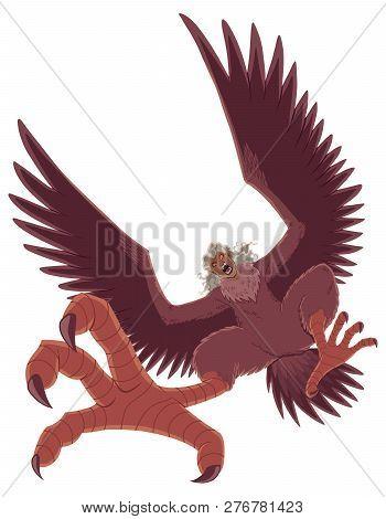 Illustration of ferocious cartoon harpy isolated on white background. poster