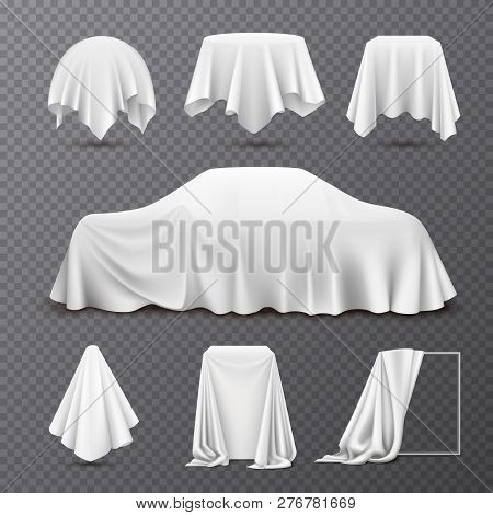 White Silk Cloth Covered Objects Realistic Set With Draped Car Hanging Napkin Tablecloth Curtain Tra