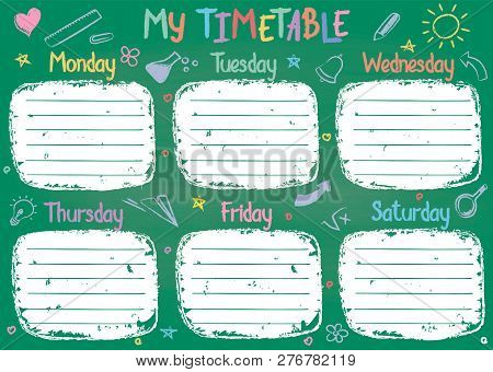 School Timetable Template On Chalk Board With Hand Written Colored Chalk Text. Weekly Lessons Shedul