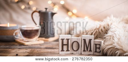 Composition Homely Festive Atmosphere In The Interior, Comfort Concept