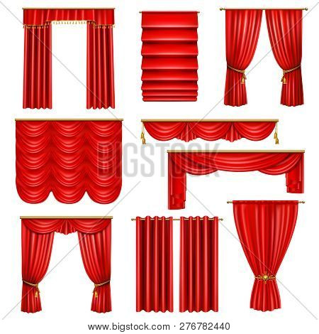 Set of realistic luxury red curtains of various design on cornices with golden elements isolated vector illustration poster