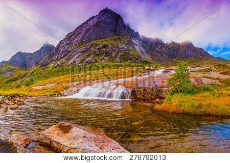 Norway. Spring Landscape. Colorful Spring Norway Nature. Landscape With Rock And Waterfall.