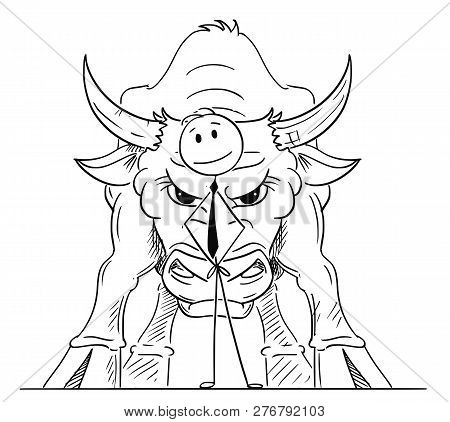 Cartoon Stick Drawing Conceptual Illustration Of Businessman Standing With Big Bull Behind Him As Sy