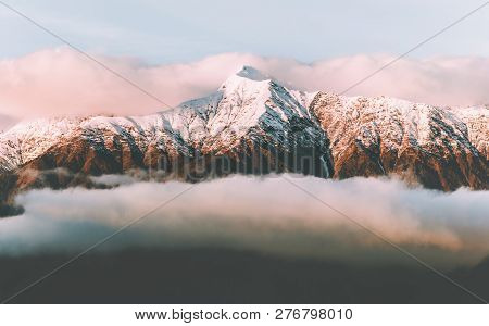 Snowy Mountains Range And Sunset Clouds Landscape Travel Aerial View Beautiful Nature Tranquil Scene