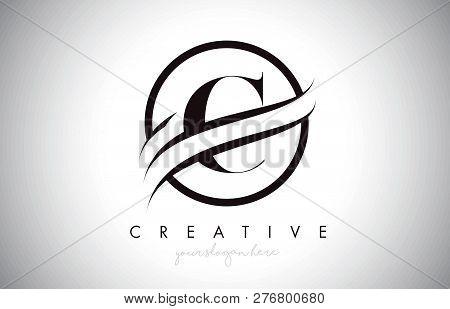 C Letter Icon Logo Design With Circle Swoosh Border And Black Colors. Creative C Design Vector Illus
