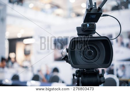 Film Lens Of Video Camera Recording Film Shooting Of Grand Opening In Conference Hall Live Streming