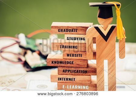 Student Sign Wood Graduation Celebrating Cap On Wooden Blocks Tower Space For Letter E.g Education,