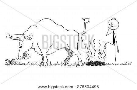 Cartoon Stick Man Drawing Conceptual Illustration Of Businessman Step On Dung Or Excrement Of Bull A