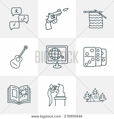 Lifestyle Icons Line Style Set With Knitting, Guitar, Domino And Other Pistol Elements. Isolated Vec