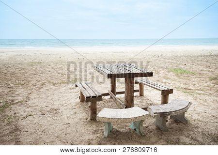 Table Set With Bench On The Beach, Laem Talumphuk, Pak Phanang, Nakhon Si Thammarat, Thailand.