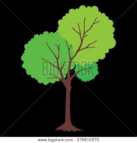 Tree With Green Leaves. Tree Icon Isolated On Black Background. Tree Icon Simple Sign. Tree Icon Tre