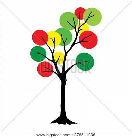 Tree With Circle Full Color Green Leaves. Full Color Tree Icon Isolated On White Background. Tree Ic