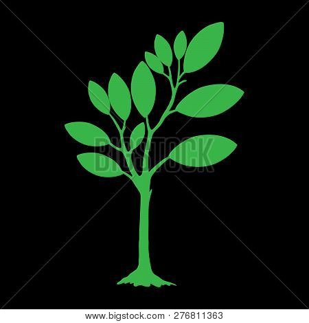 Green Silhouette Tree With Leaves. Tree Icon Silhouette   Isolated On Black  Background. Tree Icon S