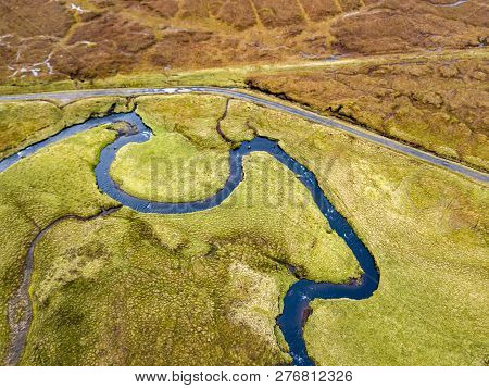 Aerial View Of The River Lealt And Single Track At Loch Cuithir And Sgurr A Mhadaidh Ruadh - Hill Of