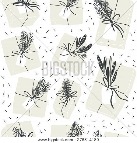 Seamless Pattern With Black And White Gift Boxes, Herbs And Tags. Beautiful Present Box For Birthday
