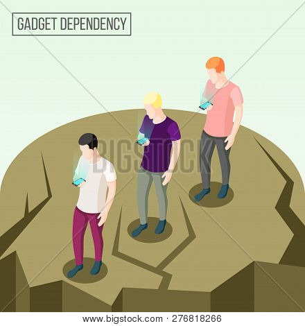Gadget Dependency Isometric Composition With Going People Going To Edge Of Abyss Looking At Their Sm