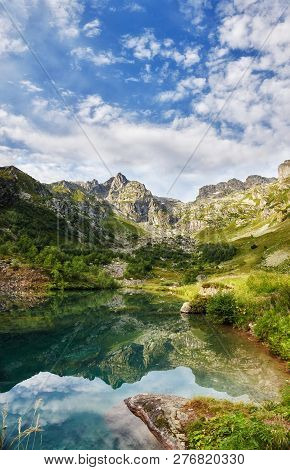 Panoramic Photos Spring Valley Caucasus Mountains Arkhyz, Russia. Fabulous Sunrise And Sunset In The