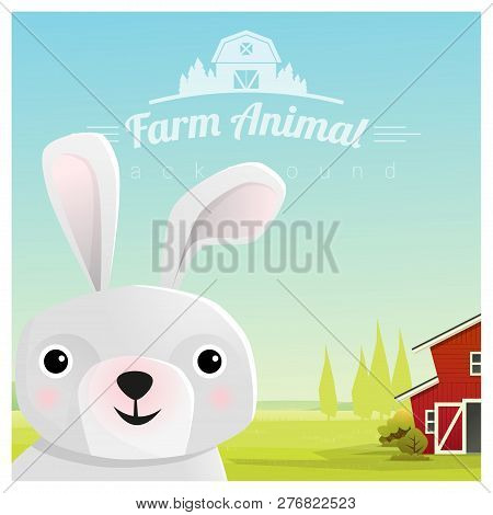 Farm Animal And Rural Landscape Background With Rabbit , Vector , Illustration