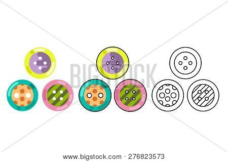 Button Craft Tool Stud Sew Cloth Flat Design Isolated Icon Vector Illustration