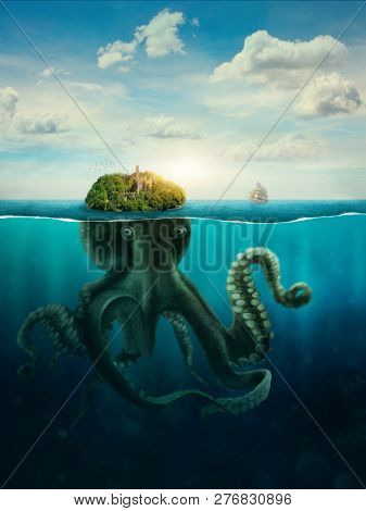 Fantasy Spooky Island. Giant oktupus