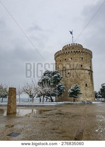 Thessaloniki, Greece Heavy Snowfall At The City Center.snow At The White Tower, The City Landmark.