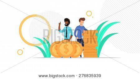 Business Man Team Standing With Big Golden Coins. Stuck Of Money. Investment. Cartoon Flat Character