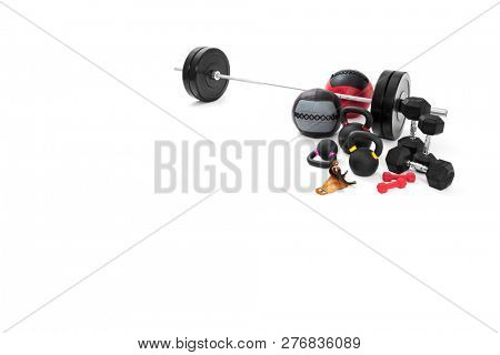 Set of sports equipment for bodybuilding on white background
