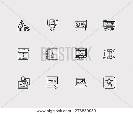Seo Icons Set. Seo Monitoring And Seo Icons With Responsive Design, Customer Review And Setup Campai