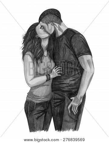 Watercolor Illustration Of A Young Couple In Love, Boy And Girl Kissing  Couple In Love. Romantic An