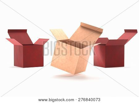 Open Gift Golden And Red Box Cardboard Mockup. Open Carton Cardboard Box Container Package For Deliv