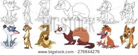 Cartoon Animal Set. Collection Of Wild Predators. Howling Wolf (coyote), Suricate, Sloth, Ferret (po