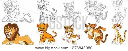 Cartoon Animal Set. Collection Of Wild Cats. Lion, Tiger Cub, Wildcat (lynx), Leopard (cheetah). Col