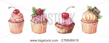 Watercolor Cupcakes Set With Different Type Of Cupcakes: Strawberry, Blueberry, Chocolate. Citrus, R