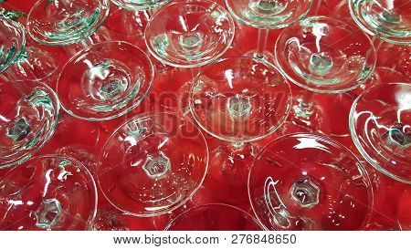 Upside Down Stemware Are Organized And Ready For A Fancy Event