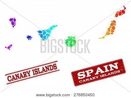 Spectrum Dotted Map Of Canary Islands And Red Grunge Stamps. Vector Geographic Map In Bright Spectru