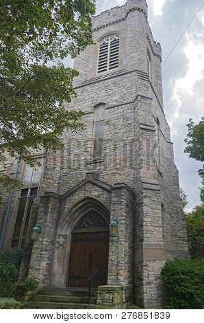 Corner Of Gothic Style Church At Entrance And Tower In Milwaukee Wisconsin