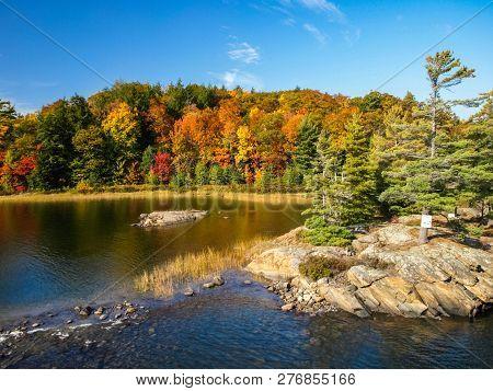 Autumn On The Shore Of Lake Huron, A Beautiful Autumn Landscape.