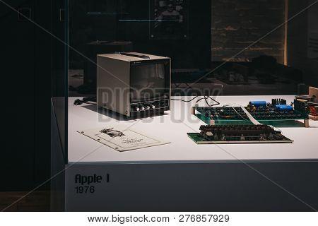 Prague, Czech Republic - August 28, 2018: Macintosh Apple I Computer On Display Inside Apple Museum