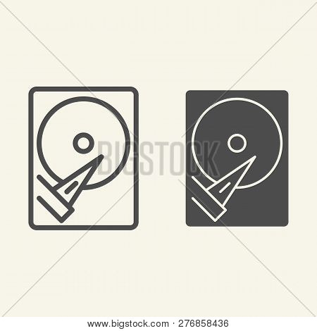 Hard Disk Line And Glyph Icon. Storage Vector Illustration Isolated On White. Hard Drive Outline Sty