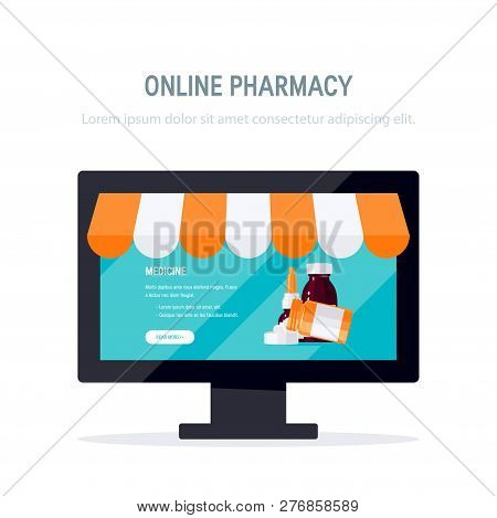Online Pharmacy Concept. Monitor With Opened Webpage Of A Drugstore. Vector Illustration In Flat Sty