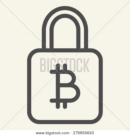 Bitcoin Lock Line Icon. Bitcoin Security Vector Illustration Isolated On White. Cryptocurrency Prote