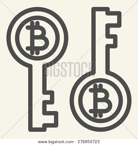 Bitcoin Key Line Icon. Bitcoin Security Vector Illustration Isolated On White. Cryptocurrency Electr