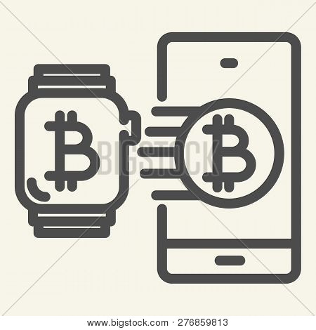 Smart Technology And Cryptocurrency Line Icon. Bitcoin Smartwatch And Phone Vector Illustration Isol